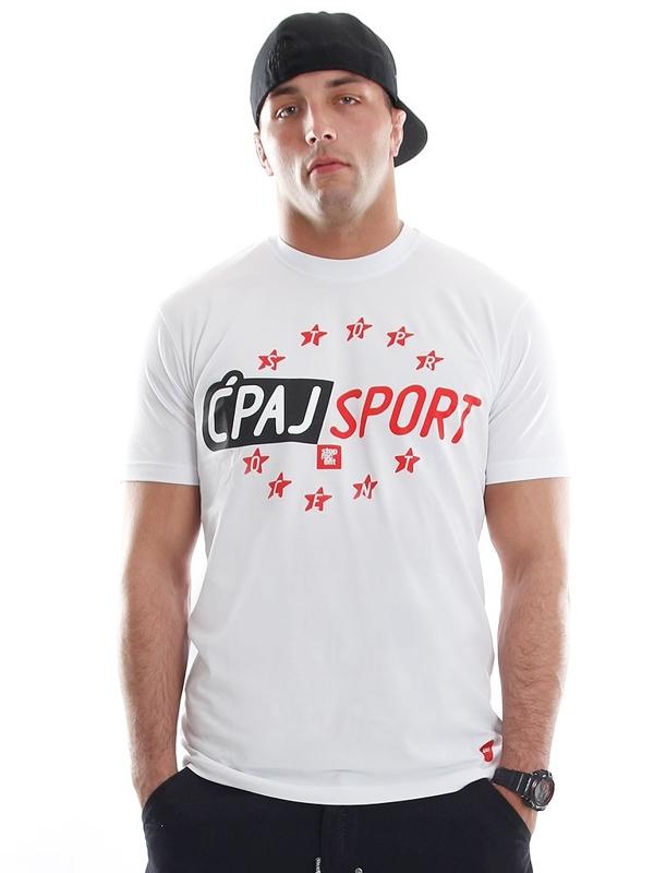Stoprocent Koszulka Ćpaj Sport 15 Biała